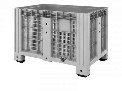 Перфорированный полимерный контейнер на 4-х ножках Ibox 11.602.91.РЕ.C10 (1200х800) (серый)
