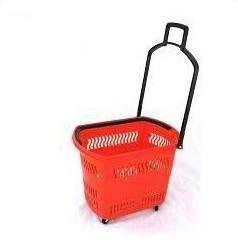 Пластиковая корзина-тележка на 4-х колесах