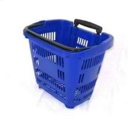 Пластиковая корзина-тележка на 2-х колесах