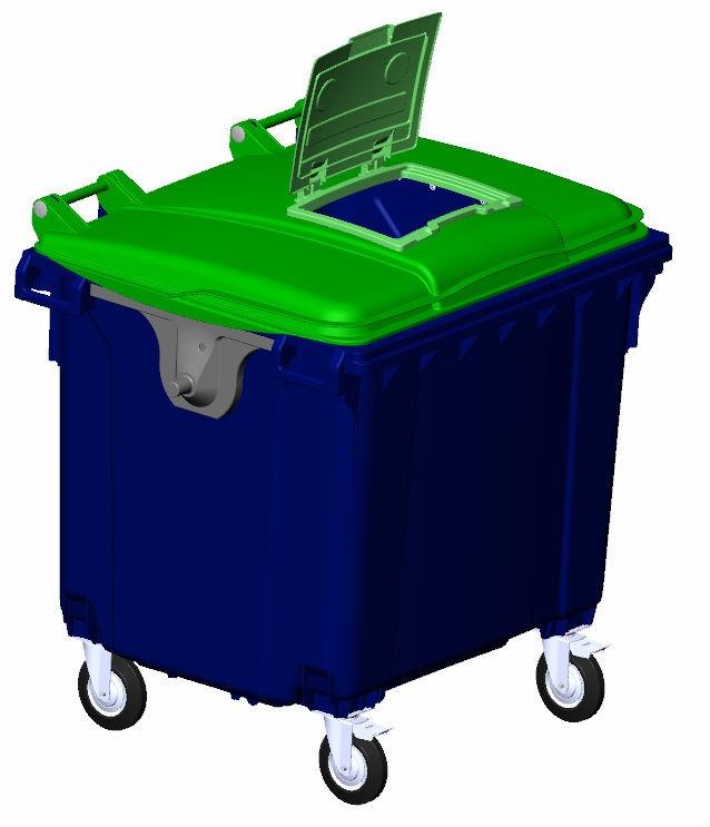 Передвижной мусорный евроконтейнер с опцией «крышка в крышке», внутренний объем 1100 л.